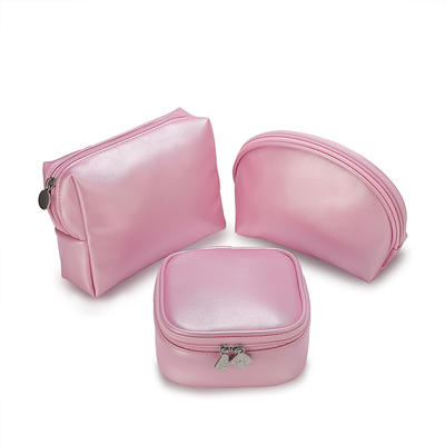 Custom cosmetic bag in pu leather zippered pouch