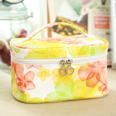 Pu makeup bag travel storage pouch with top handle