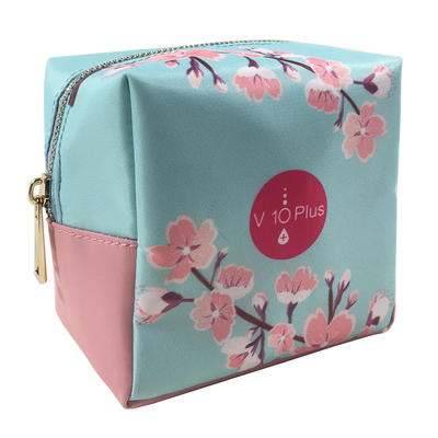 Square Cosmetic Bag Gold Zipper Storage Bag for Women Travelling
