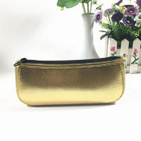 Custom pencil case with zipper in gold neoprene for stationary collection