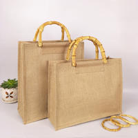 Reusable Jute Bags with Full Gusset and bamboo handle