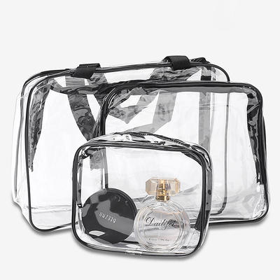 Clear plastic pvc handle cosmetic bags