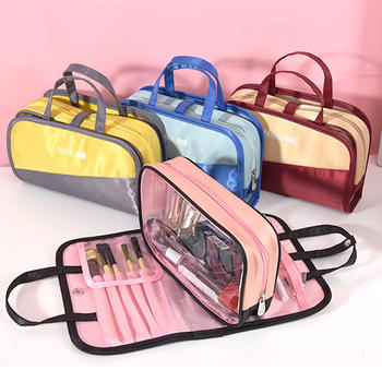 Transparent plastic handle cosmetic bags