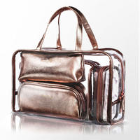 Clear plastic 5 set handle cosmetic bags