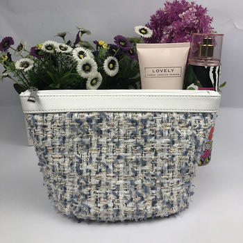 Soft woolen cosmetic pouch
