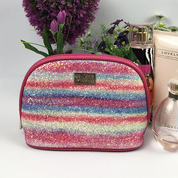 Cosmetic Bag with Shiny Sparkling Glitter Rainbow