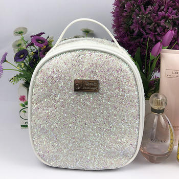 Embroidery seque cosmetic bag with handle for lady