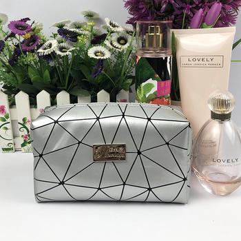 Triangle PU leather makeup bag with zipper