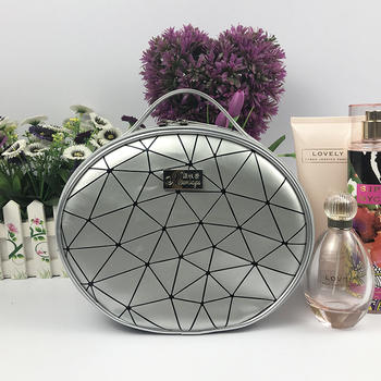 Oval Cosmetic Bag with Handle PU Grid Pattern Zippered Bag