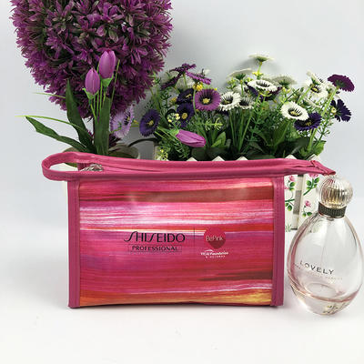Shiseido custom full color print PU makeup bag