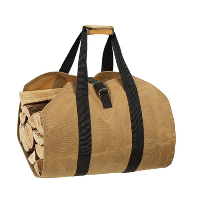 Custom Professional Design light brown wax cotton firewood handle bag